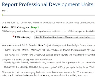 Filing PDUs with PMI